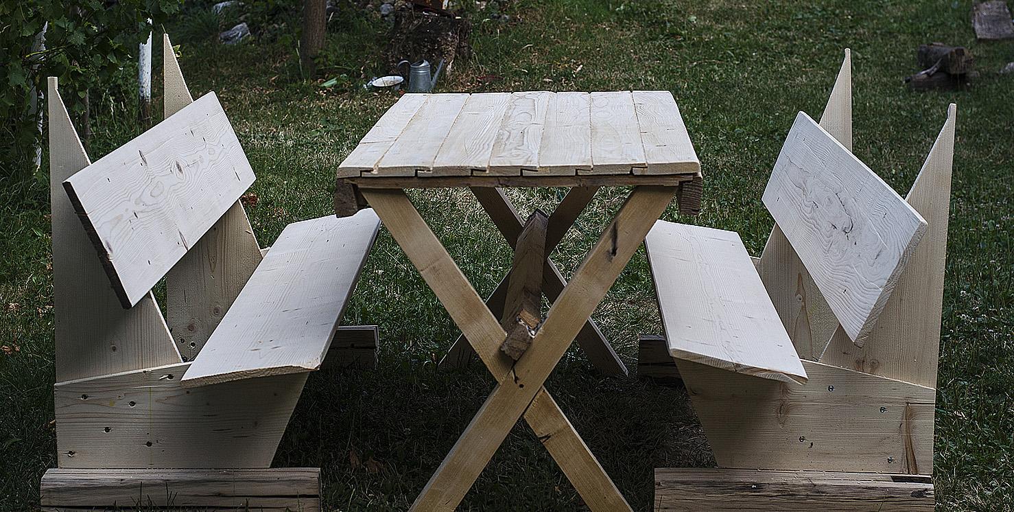 diy masa si banci lemn